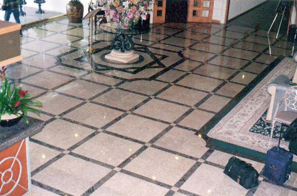 Anti-slip service applied in Grand Hotel lobby