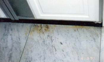 Marble white carrara contains iron and will rust if no proper care is given