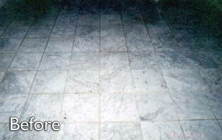 White-Carrara-marble-floor-before-service
